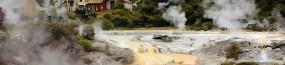 Géothermisme, au village Te Whakarewarewa à Rotorua