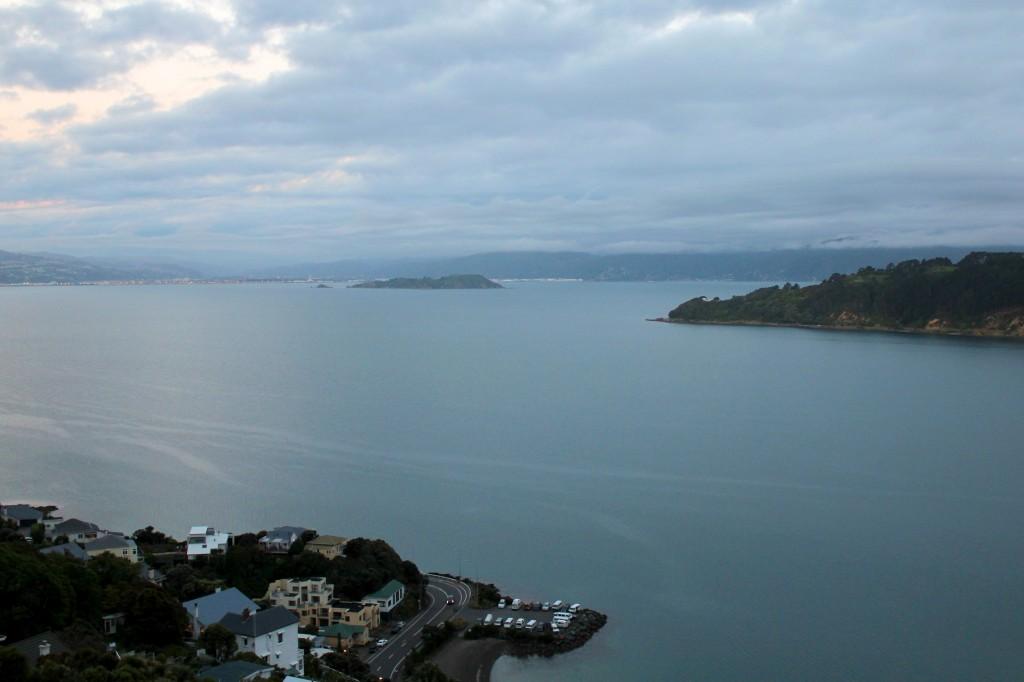 Le parking où nous avons passé trois nuit à Wellington, vu du mont Victoria