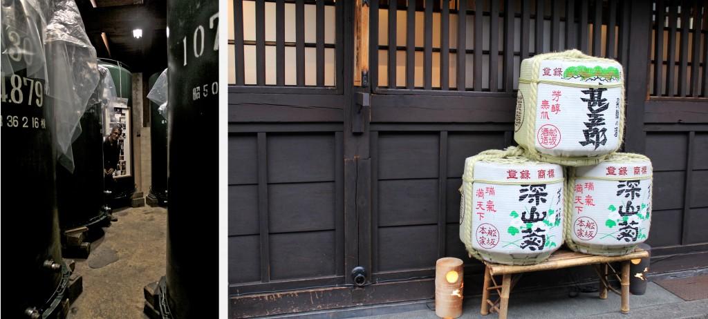 Cuves et barils de saké dans une distillerie à Takayama