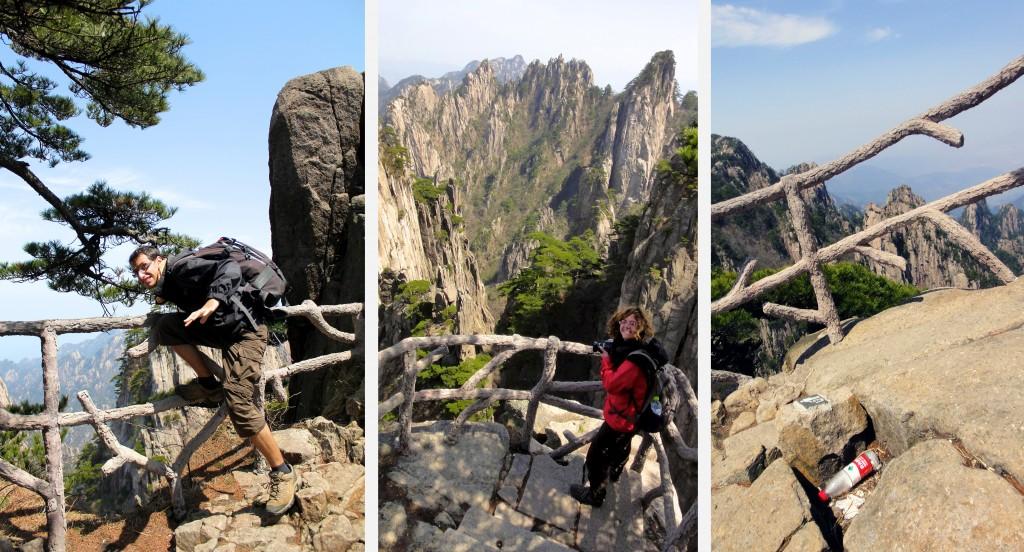 Au parc touristique des montagnes jaunes, les barrières sont en imitation bois et les poubelles intégrées dans la roche