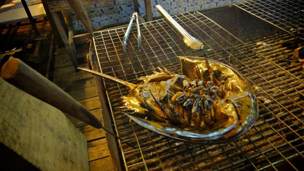 Limule grillé sur un stand de restaurant du village de pêcheurs de Bang Bao