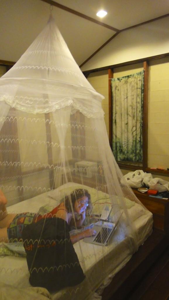 Sous une moustiquaire dans un bungalow sur une île de Thaïlande
